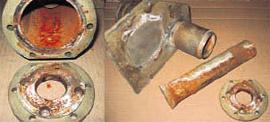 Цилиндры и толкатели прессовочной машины до термоабразивной очистки